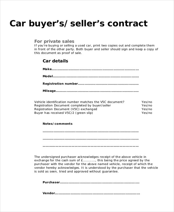 9+ Sample Purchase Agreement Forms - Sample, Example, Format - auto purchase agreement template