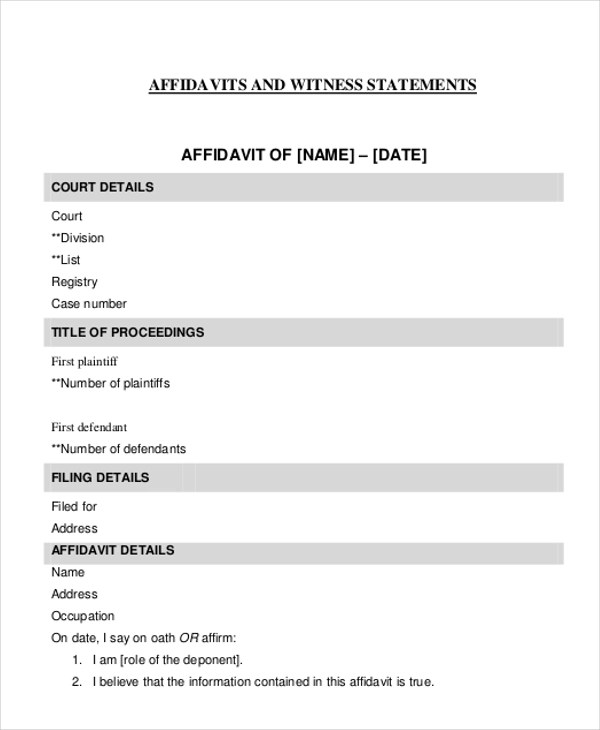 Sample Witness Affidavit Form - 8+ Free Documents in PDF, Doc - printable affidavit form