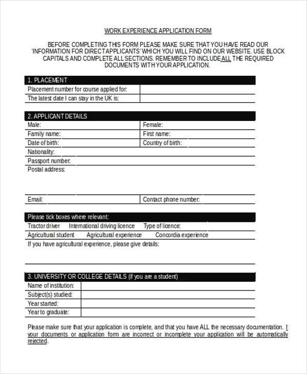 Job Application Form Sample Doc | Canadian Business Plan Template