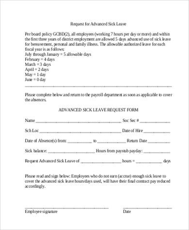 Sick Leave Request Sample leave request mailsick leave letter - leave application form for employee
