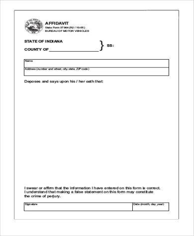 Free Affidavit Form Download Waiter Resume Examples For Letters
