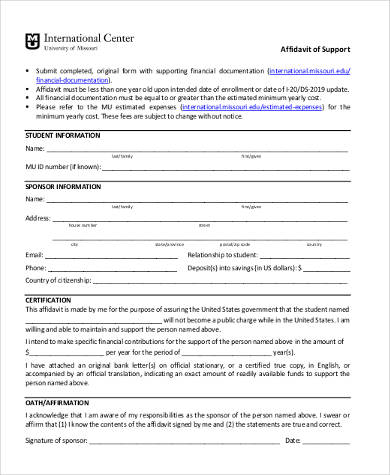 Sample Affidavit Support Forms - 8+ Free Documents in PDF