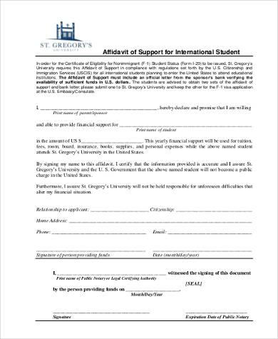 affidavit of support templatexampleunicloudpl - affidavit of support