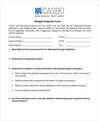 Sample Budget Proposal Forms - 8+ Free Documents in Word, PDF - budget proposal