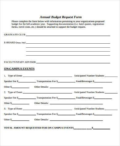 Sample Annual Budget Forms - 8+ Free Documents in Word, PDF - budget request form