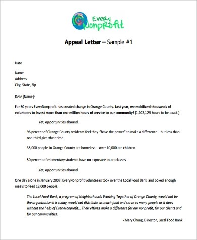 Sample Appeal Letter Format - 9+ Free Documents in Word, PDF - appeal letter