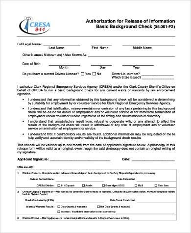 Sample Background Check Authorization Form - 8+ Free Documents in - background check release form