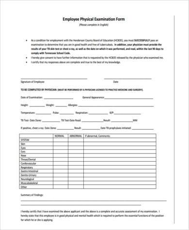 Sample Work Physical Forms - 8+ Free Documents in Word, PDF - physical exam form