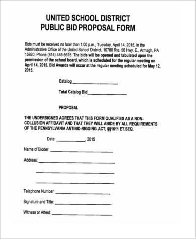 bid form example - Gurekubkireklamowe