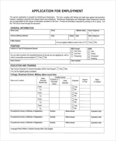 Blank Employment Application Sample