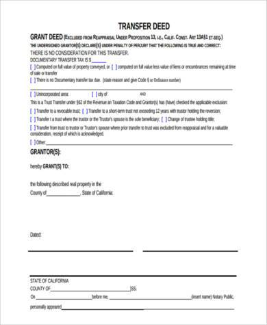 Deed Transfer Sample Forms - 8+ Free Documents in Word, PDF - grant deed form