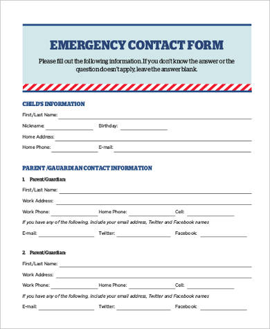 Emergency Contact Form Samples - 8+ Free Documents in PDF - contact information form