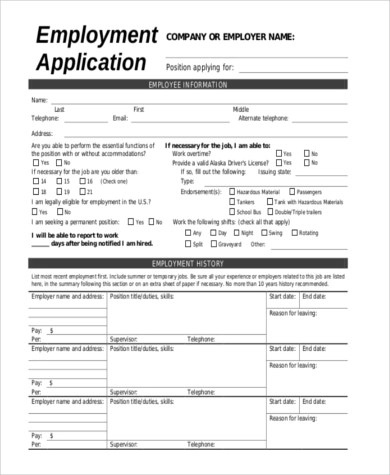 Blank Employment Application Sample - 10+ Free Documents in Word, PDF