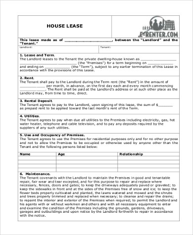 Sample Blank Lease Forms - 8+ Free Documents in PDF - sample house lease agreement