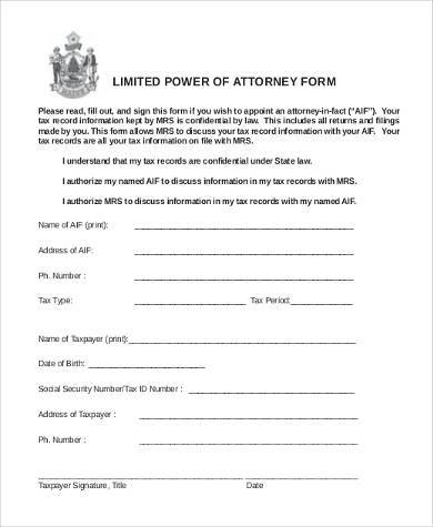 Limited Power of Attorney Form Samples - 8+ Free Documents in Word, PDF