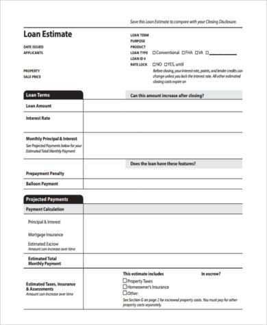 Blank Estimate Form