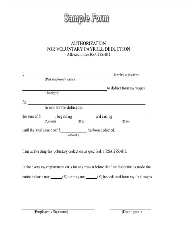 Payroll Deduction Form Samples - 9+ Free Documents in Word, PDF - blank payroll form
