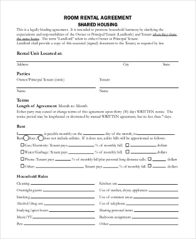 Room Rental Agreement Form Samples - 9+ Free Documents in PDF - room rental agreements