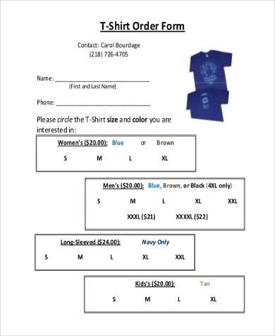 T-Shirt Order Form Sample - 7+ Free Documents in PDF - t shirt order forms
