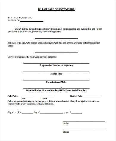 Sample Boat Bill of Sale Form - 6+ Free Documents in Word, PDF - equipment bill of sale template