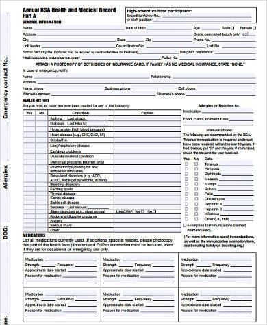 Sample Boy Scout Physical Forms - 9+ Free Documents in Word, PDF - boy scout medical form