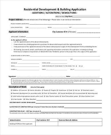 Sample Construction Application Forms - 9+ Free Documents in PDF