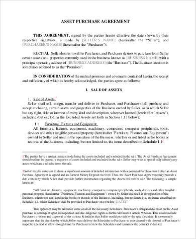 Business Agreements Business Asset Purchase Agreement Sample - sample business purchase agreement