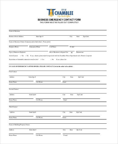 Emergency Contact Form Samples - 8+ Free Documents in PDF - emergency contact form