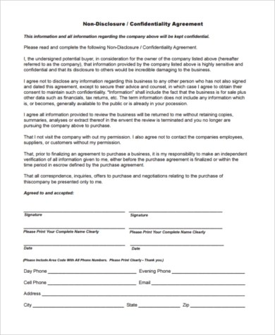 Sample Business Purchase Agreements - 8+ Free Documents in Word, PDF - contractor confidentiality agreement