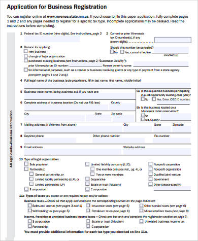 Sample Business Registration Forms - 7+ Free Documents in Word, PDF - business application form