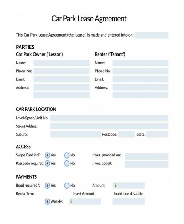 Sample Car Lease Agreement Car Payment Contract Template Free - car lease agreement