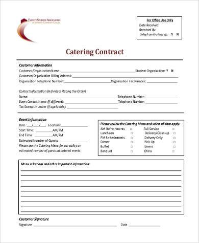 Catering Contract Form Samples - 8+ Free Documents in Word, PDF - contract templates in pdf