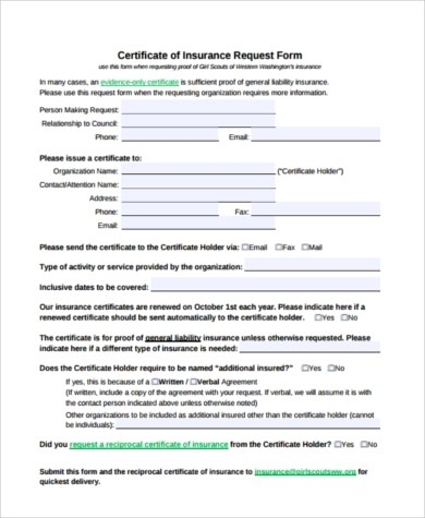 Sample Certificate of Liability Insurance Forms - 6+ Free Documents - certificate of insurance template
