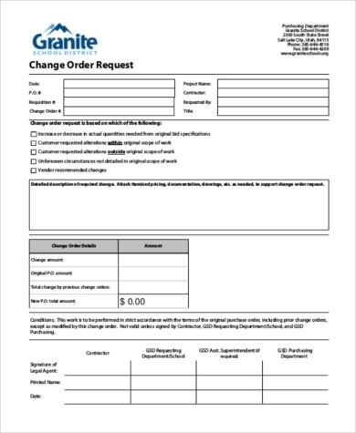 Sample Change Request Form - 8+ Free Documents in Word, PDF - sample change order template