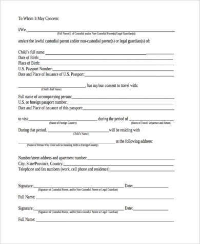 Child Travel Consent Form Sample - 6+ Free Documents in Word, PDF - one parent travel consent form