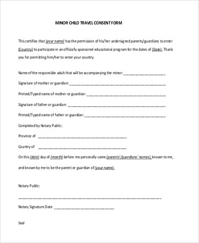Sample Travel Consent Form - 8+ Free Documents in PDF - parental consent to travel form