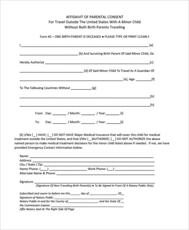 Child Travel Consent Form Sample - 6+ Free Documents in Word, PDF - parental consent to travel form