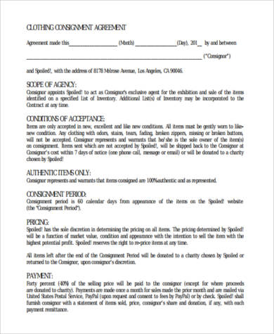 sle consignment agreement forms - 28 images - consignment form for