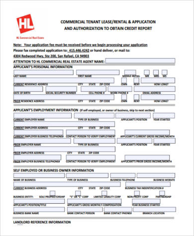 Sample Commercial Lease Application Forms - 9+ Free Documents in PDF