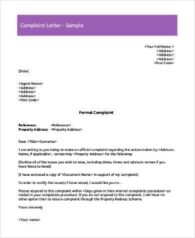 Sample Complaint Letter - 8+ Free Documents in Word, PDF - complaint letter sample