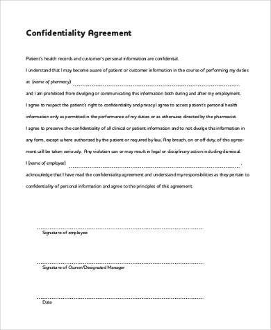 Confidentiality Agreement Form Samples - 9+ Free Documents in Word, PDF - confidentiality agreement pdf