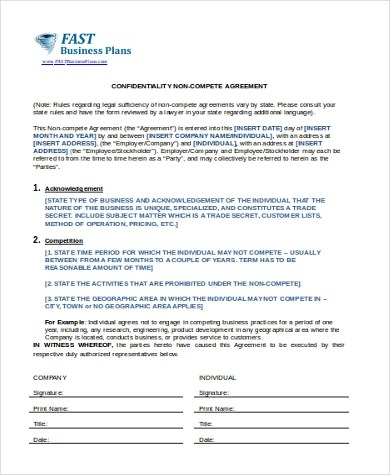 Non-Competition Agreement - 7+ Free Documents in Word, PDF