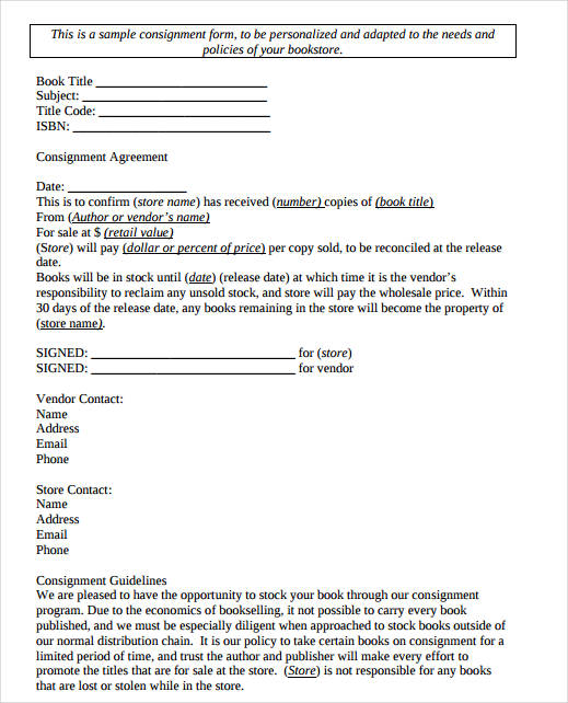 consignment agreement form - Alannoscrapleftbehind