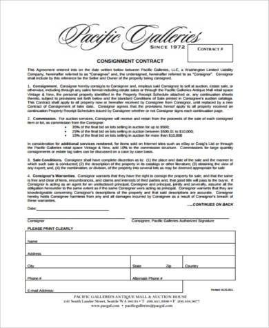 Sample Consignment Contract Forms - 9+ Free Documents in PDF - Consignment Agreement Template