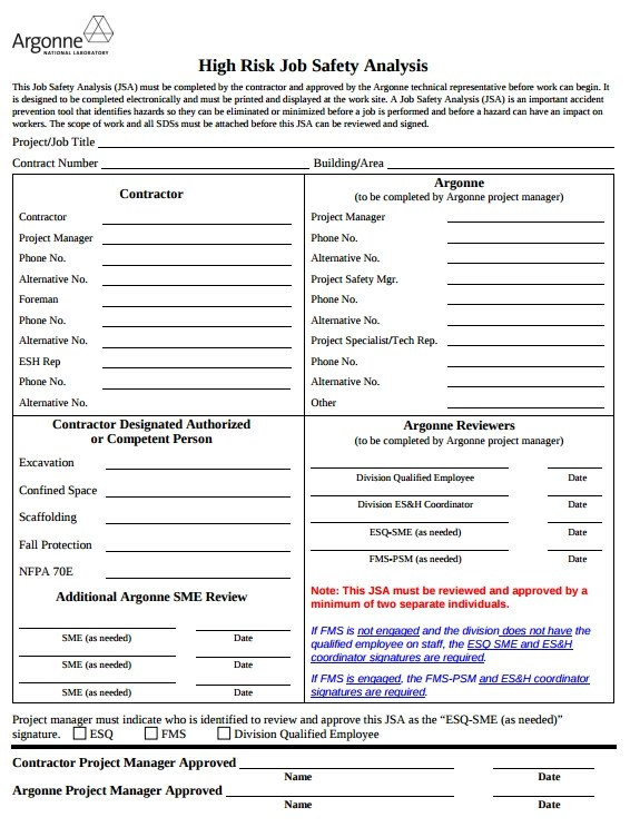 Sample Job Safety Analysis Form - 9+ Free Documents in Word, PDF