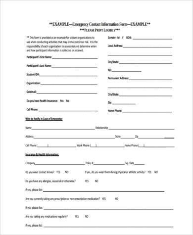 Contact Information Form 4+ Personal Information Form Format 4+ - contact information form