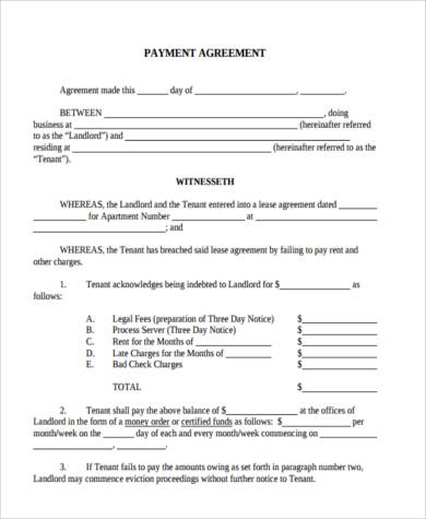 Payment Agreement Form Sample Agreement Letter Template Between Two