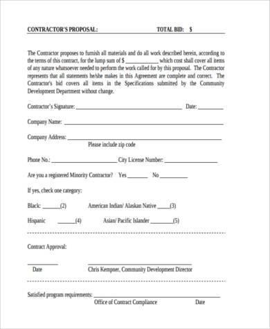 Sample Bid Proposal Forms - 8+ Free Documents in Word, PDF - bid proposal forms