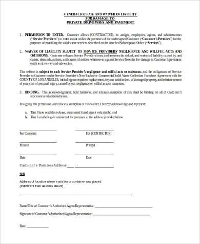 Waiver Of Liability Volunteer Release And Waiver Of Liability - free release of liability form