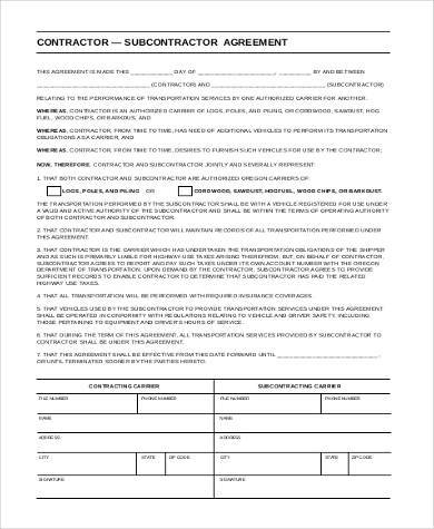 Sample Subcontractor Agreement Forms - 8+ Free Documents in Word, PDF - sample subcontractor agreement